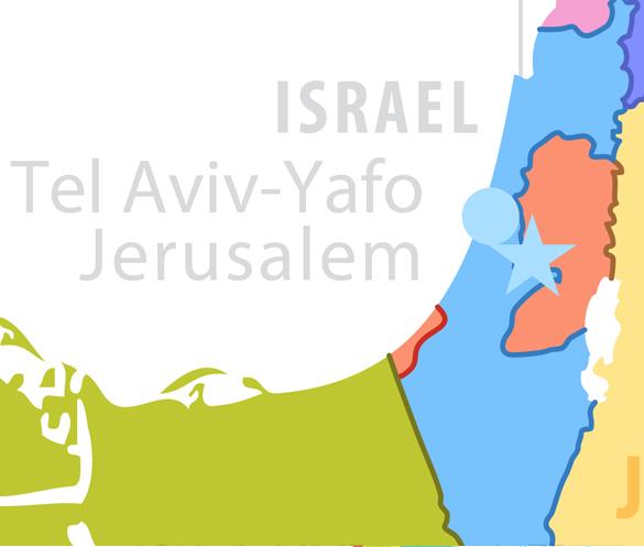 Tel Aviv, Jerusalem, Israel. Map of Fields of Action
