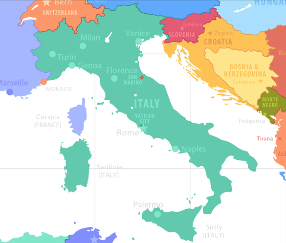 Italy. Map of Fields of Action