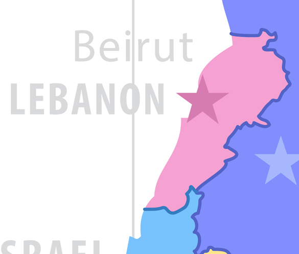Beirut, Lebanon. Map of Fields of Action