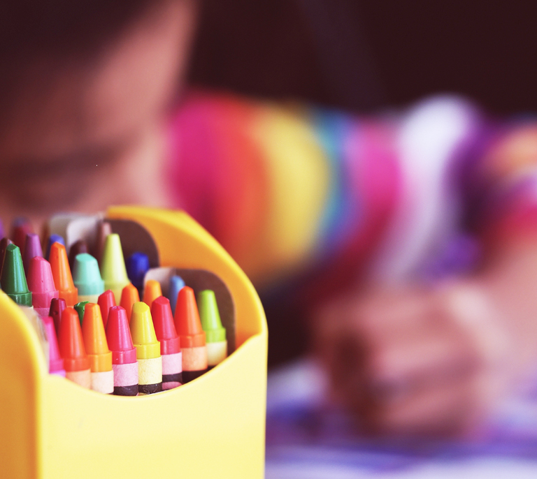 Crayons to express creativity.