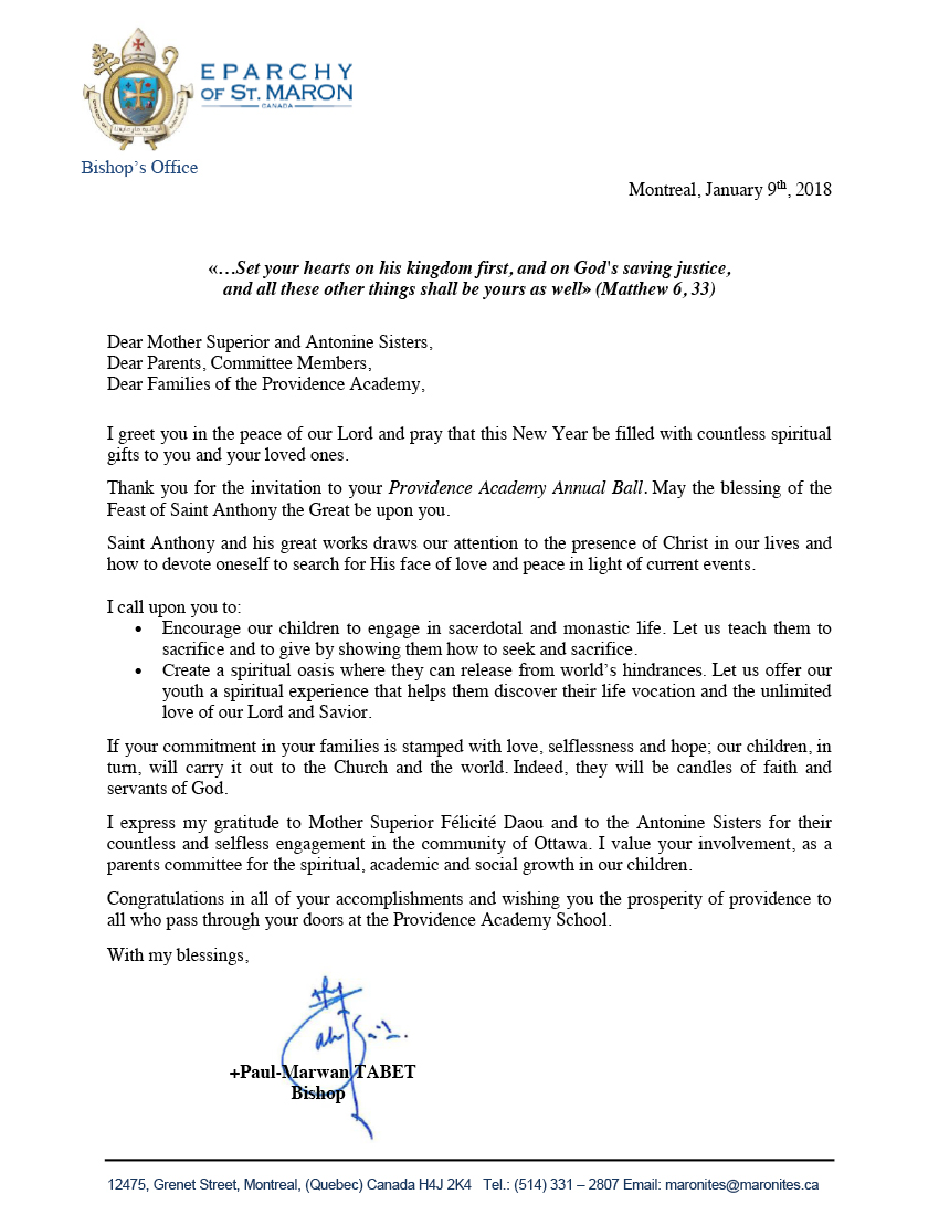 2018 Letter of the Bishop